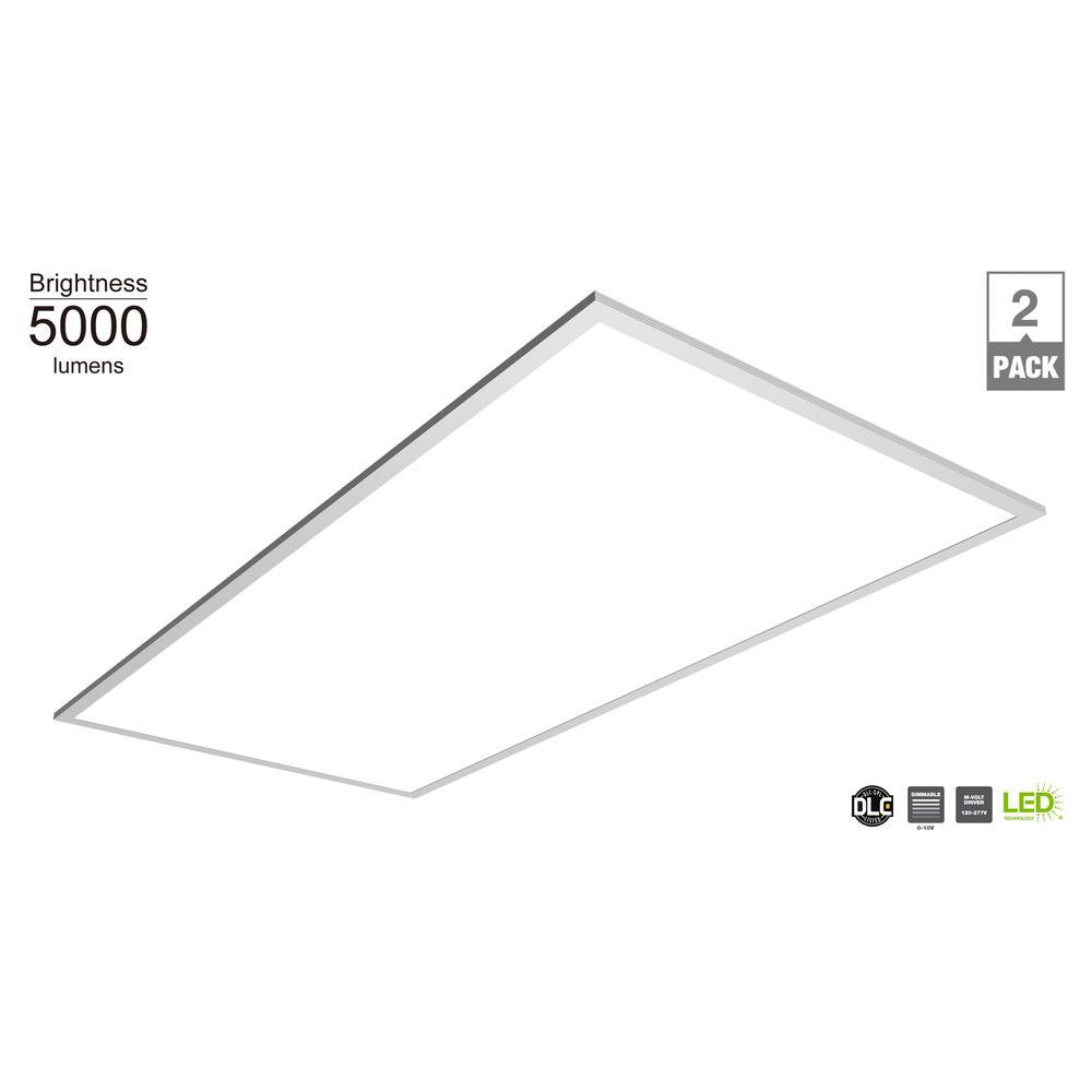 5000 Lumen 2 ft. x 4 ft. White LED Multi-Volt Flat Panel Troffer (2-Pack)