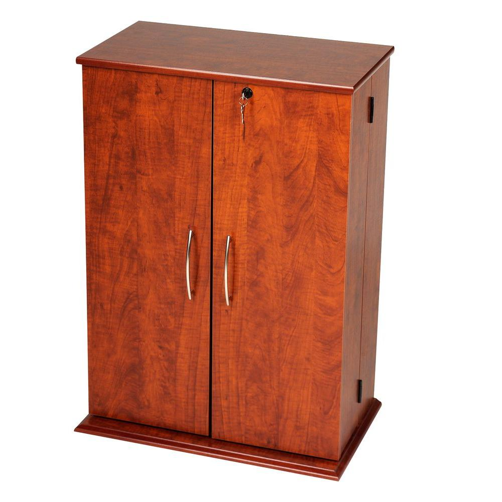 Prepac Cherry Media Storage, Reddish-Brown Wood