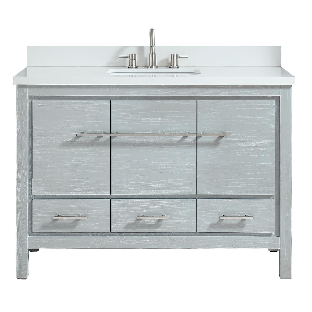 Azzuri Riley 49 in. W x 22 in. D Bath Vanity in Sea Salt Gray with Engineered Stone Vanity Top in White and White Basin