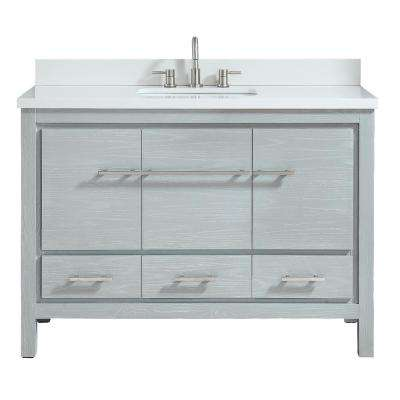 Riley 49 in. W x 22 in. D Bath Vanity in Sea Salt Gray with Engineered Stone Vanity Top in White and White Basin