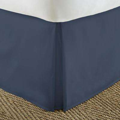 Pleated Dust Ruffle Navy Queen Performance Bed Skirt