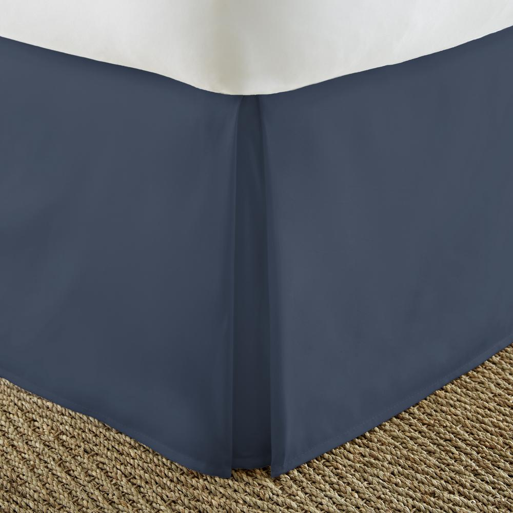 Pleated Dust Ruffle Navy Twin Performance Bed Skirt