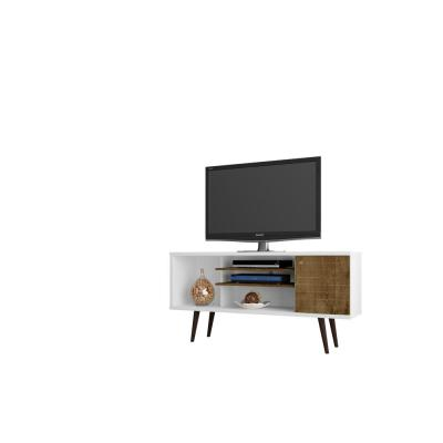 Liberty 53 in. White and Rustic Brown Composite TV Stand Fits TVs Up to 50 in. with Storage Doors