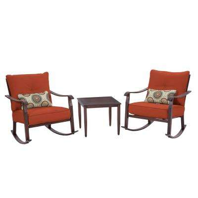 Scottsdale 3-Piece Metal Red Cushioned Outdoor Seating Set