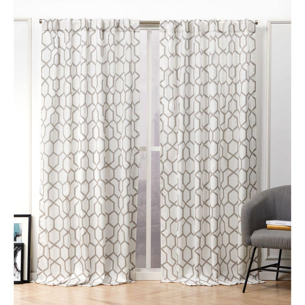 Hexa Natural Room Darkening Hidden Tab Top Curtain Panel -  54 in. W x 96 in. L  (2-Panel)