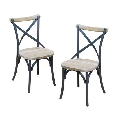 Brown Wood and Metal Dining Chair (Set of 2)
