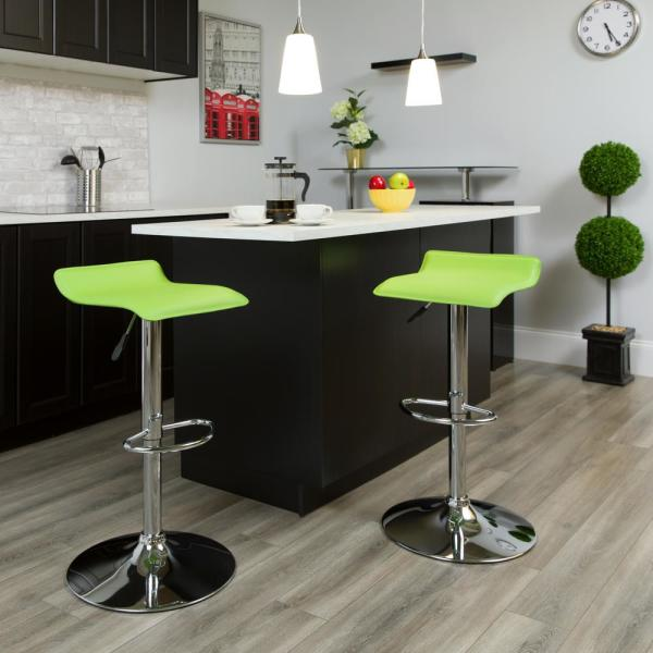 Flash Furniture 31.25 in. Adjustable Height Green Cushioned Bar Stool
