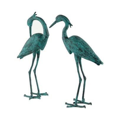 """34"""" and 36"""" Inch Large Green Metal Crane Garden Statues, Set of 2"""