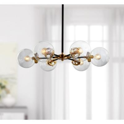 Caleb 28 in. 6-Light Black/Brass Cluster Pendant