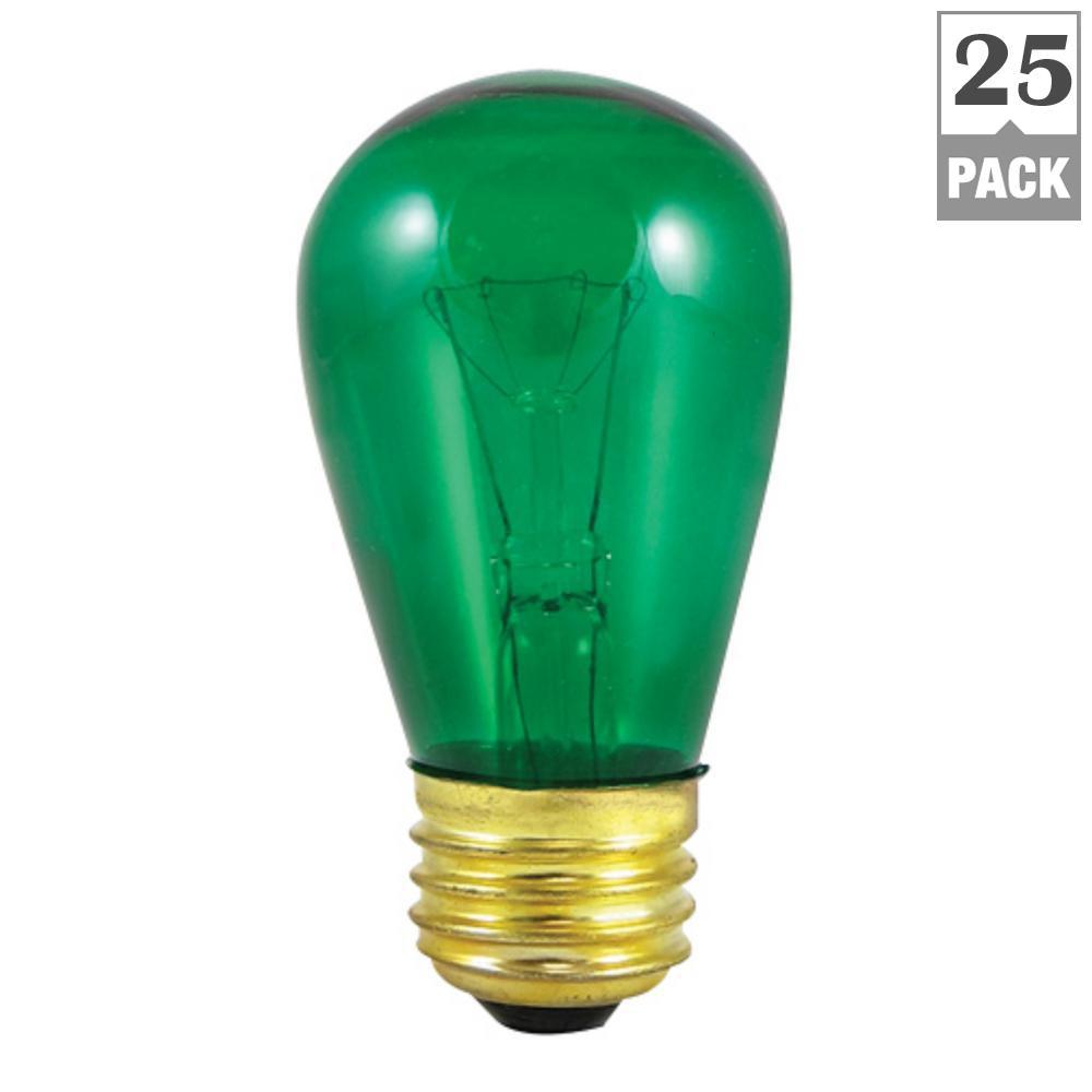 11-Watt S14 Transparent Green Dimmable Incandescent Light Bulb (25-Pack)