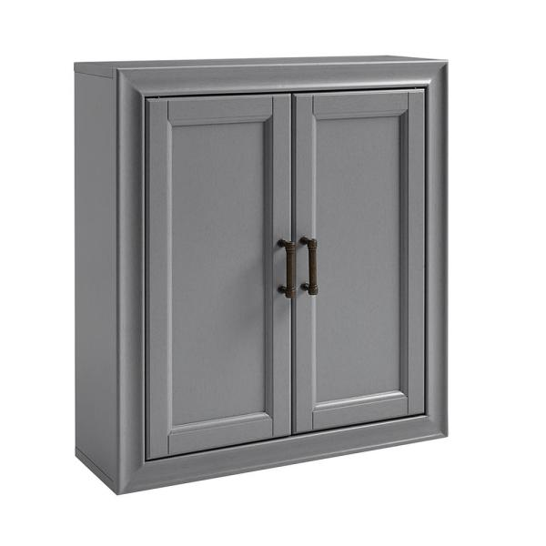 Tara 23.75 in. W x 8 in. D x 26 in. H Space Saver Wall Cabinet in Grey