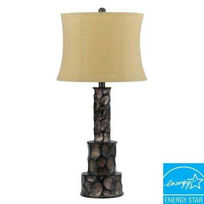 Danbury 29.5 in. Dark Grey Resin Table Lamp with Black Accents