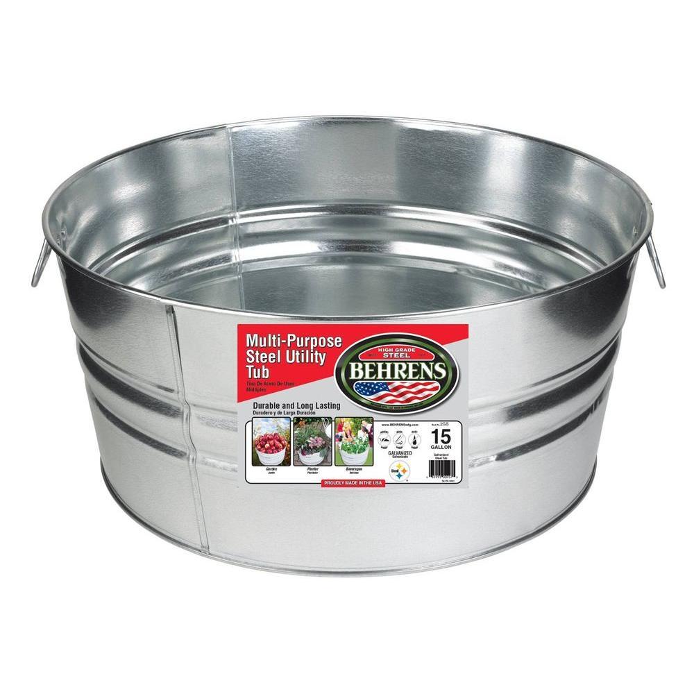Behrens 15 Gal. Galvanized Steel Round Tub, Silver