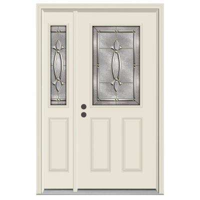 50 in. x 80 in. 1/2 Lite Blakely Primed Steel Prehung Right-Hand Inswing Front Door with Left-Hand Sidelite