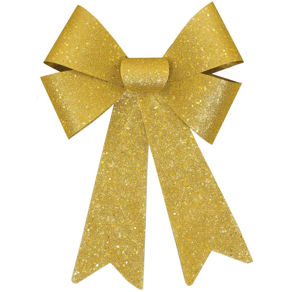 Christmas Ribbon.Amscan 13 In Glitter Bow In Gold 4 Pack