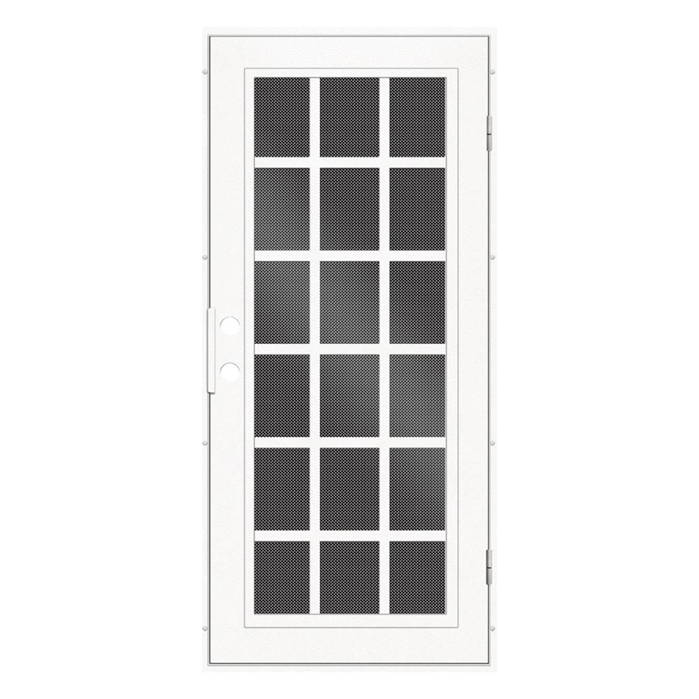 Unique Home Designs 32 in. x 80 in. Classic French White Right-Hand Surface Mount Aluminum Security Door with Black Perforated Screen