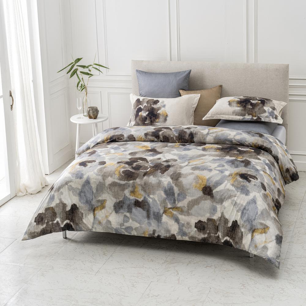 Freshet Wrinkle Resistant Reversible Print 100% Organic Cotton Multi-Color Queen Duvet Cover Set