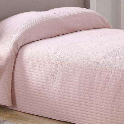 French Tile Blush Queen Quilted Bedspread