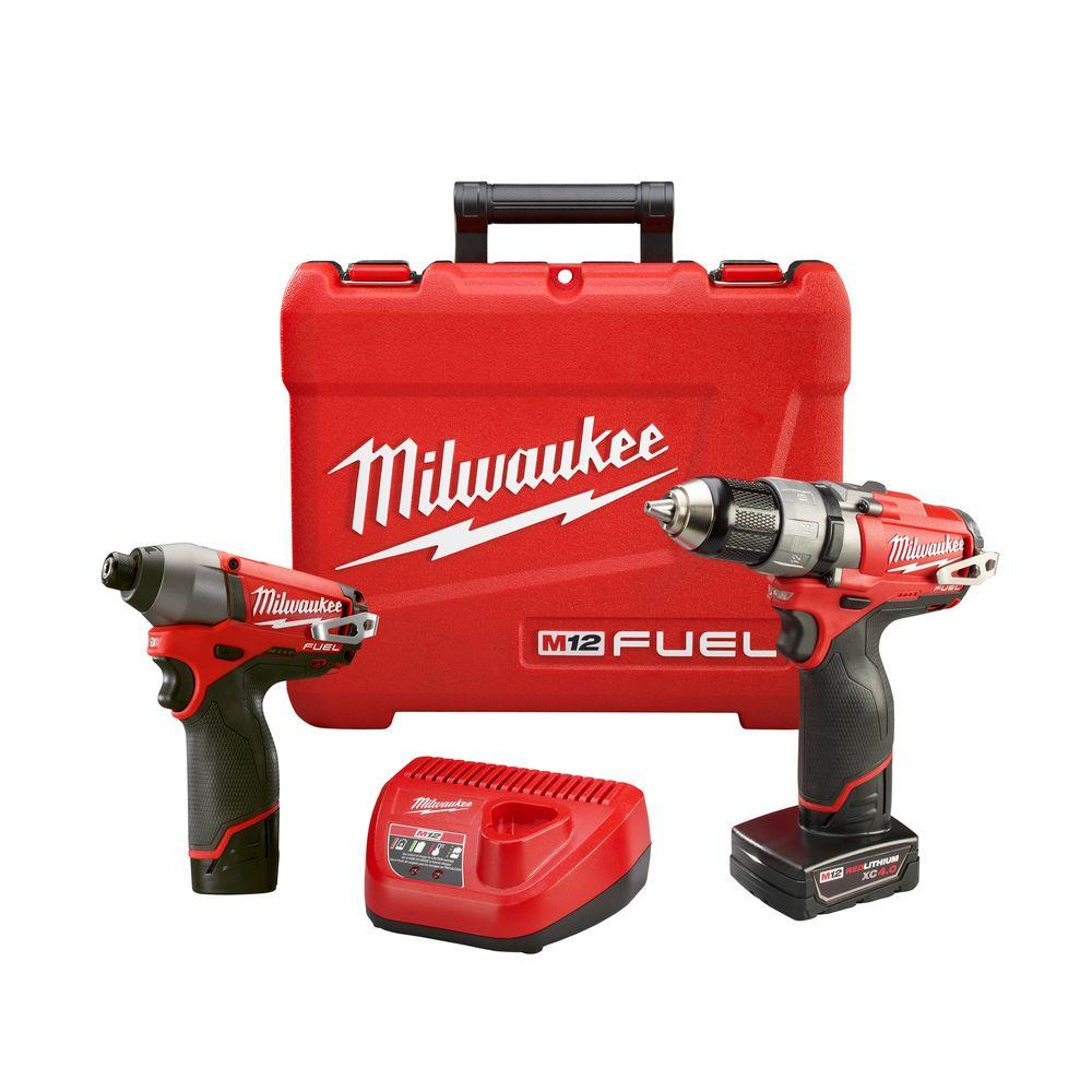 Milwaukee M12 FUEL 12-Volt Cordless Lithium-Ion 1/2 in. Drill/Driver and Impact Combo Kit