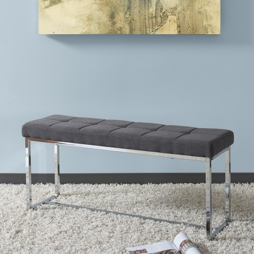CorLiving Huntington Modern Grey Fabric Bench with Chrome Base-LDF ...