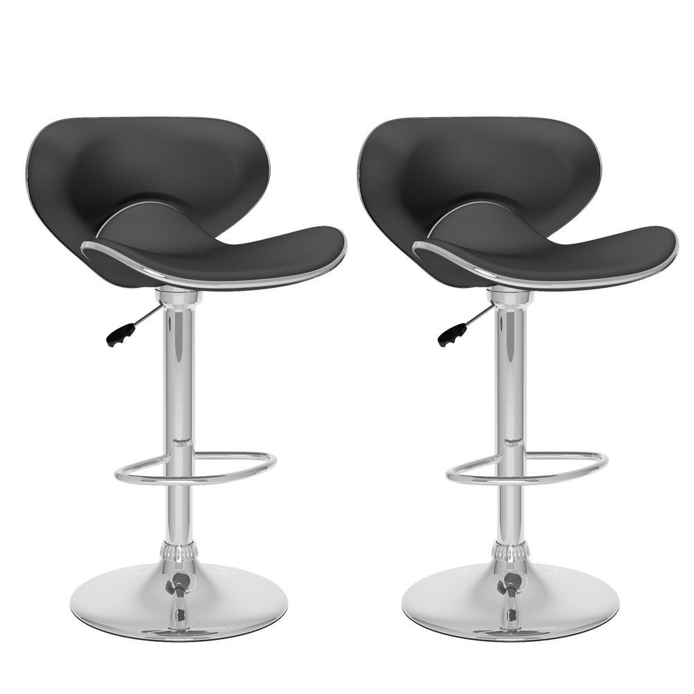 Adjustable Height Black Leatherette Curved Form Fitting Swivel Bar Stool (Set of 2)