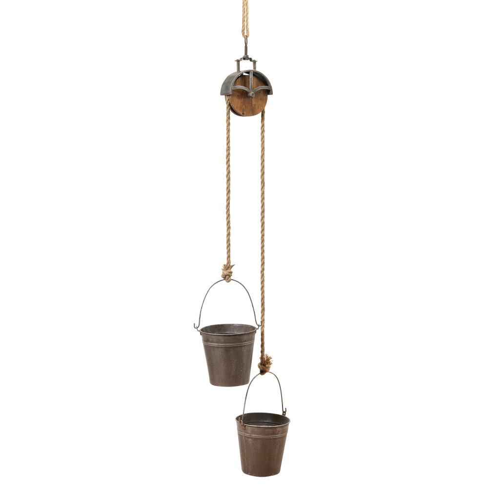 16.5 in. x 44.5 in. Grey Metal Hanging Planters with Rope