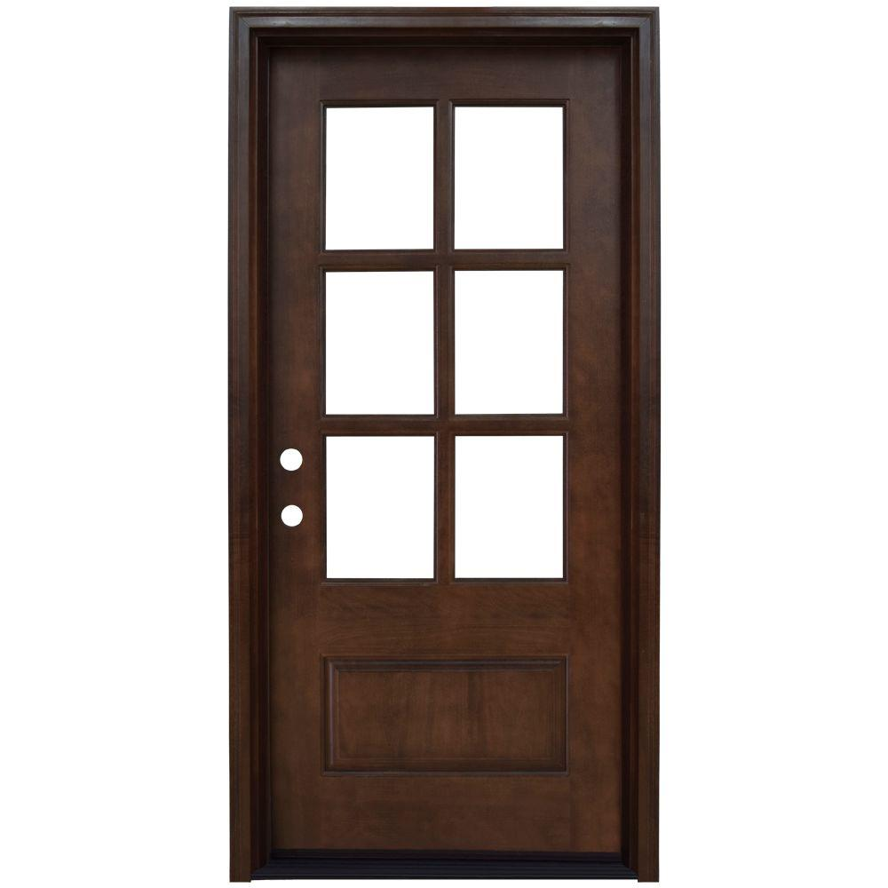 savannah 6 lite stained mahogany wood prehung front door - Single Exterior Doors