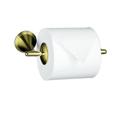 Finial Traditional Wall-Mount Double Post Toilet Paper Holder in Vibrant French Gold