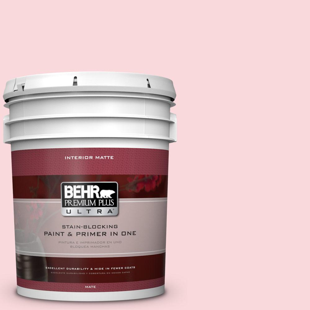 5 gal. #140A-2 Coy Pink Matte Interior Paint and Primer in