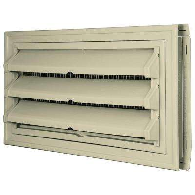 9-3/8 in. x 17-1/2 in. Foundation Vent Kit with Trim Ring and Optional Fixed Louvers (Galvanized Screen) in #049 Almond