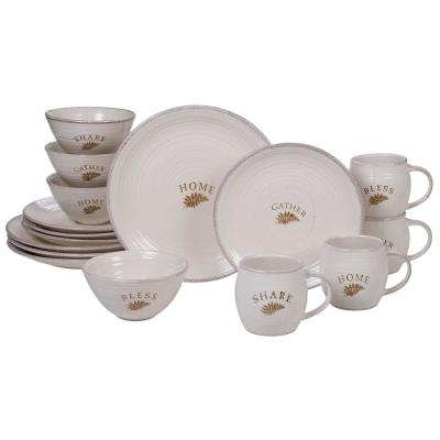 Gather 16-Piece Country/Cottage Multi-Colored Stoneware Dinnerware Set (Service for 4)