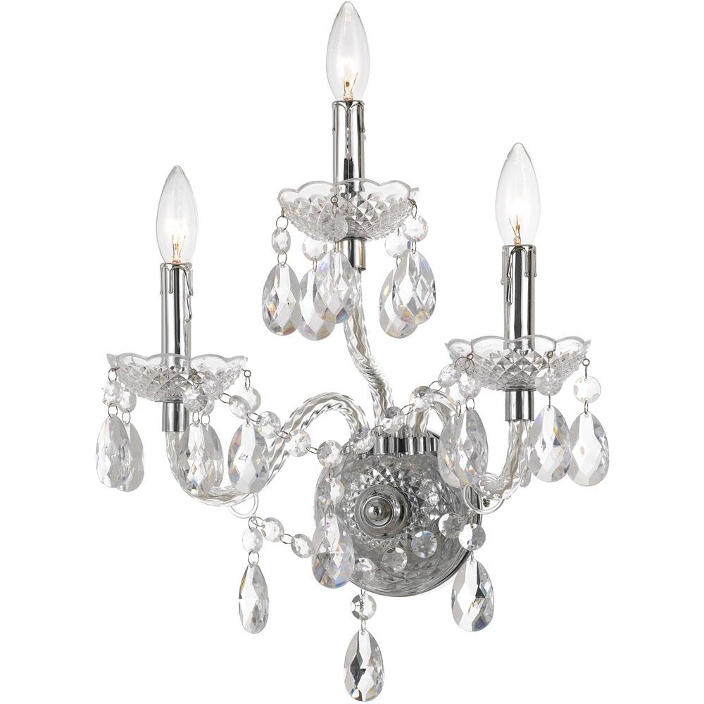 AF Lighting Naples 17.5 in. 3-Light Clear/Chrome Wall Sconce-8860-3W ...