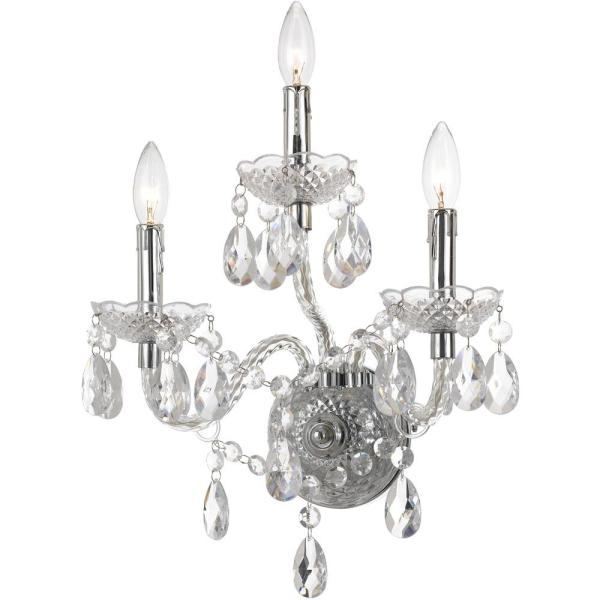 Naples 17.5 in. 3-Light Clear/Chrome Wall Sconce