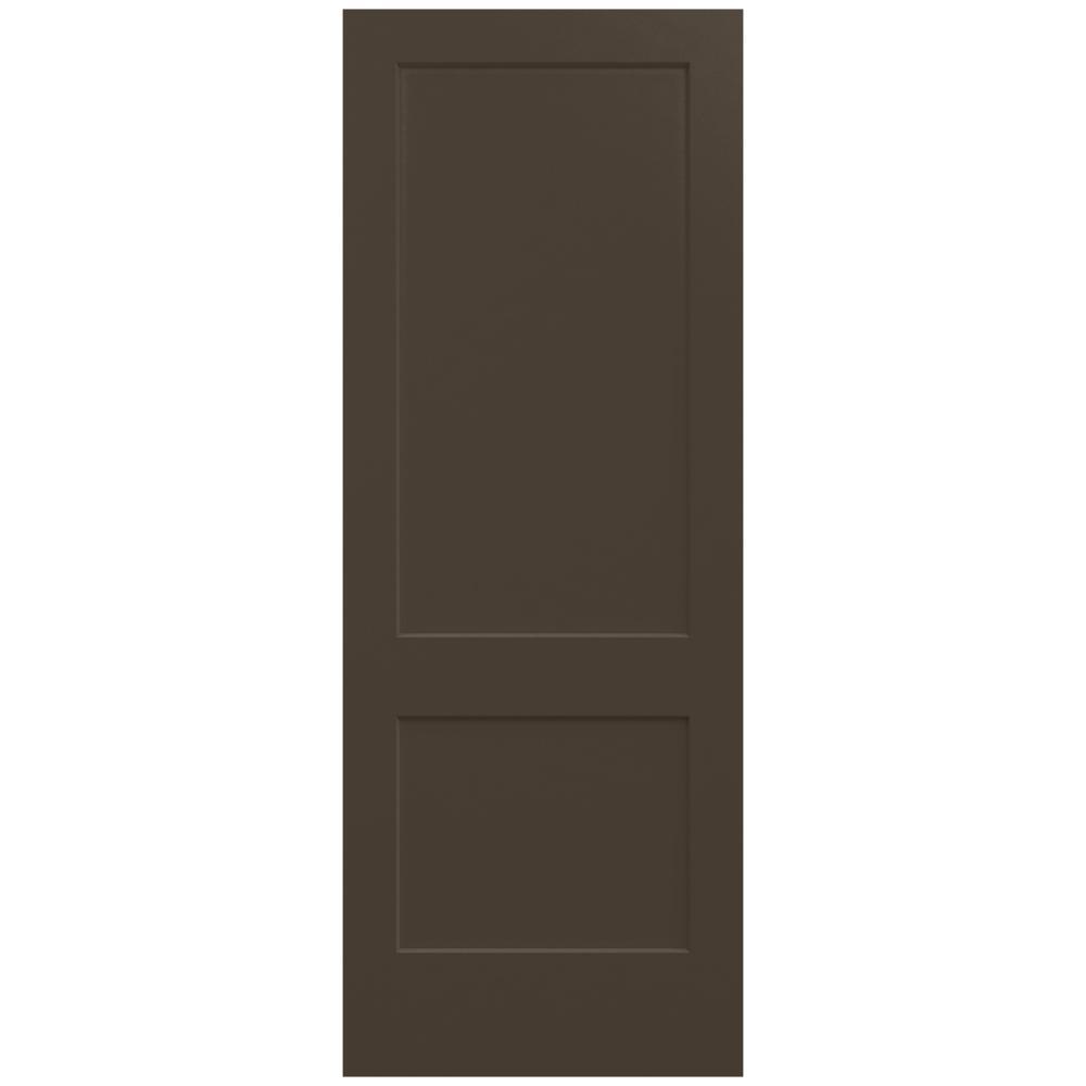 JELD-WEN 36 in. x 96 in. Monroe Dark Chocolate Painted Smooth Solid Core Molded Composite MDF Interior Door Slab