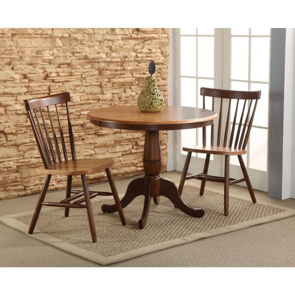 International Concepts Cinnamon and Espresso Solid Wood Counter Height Table