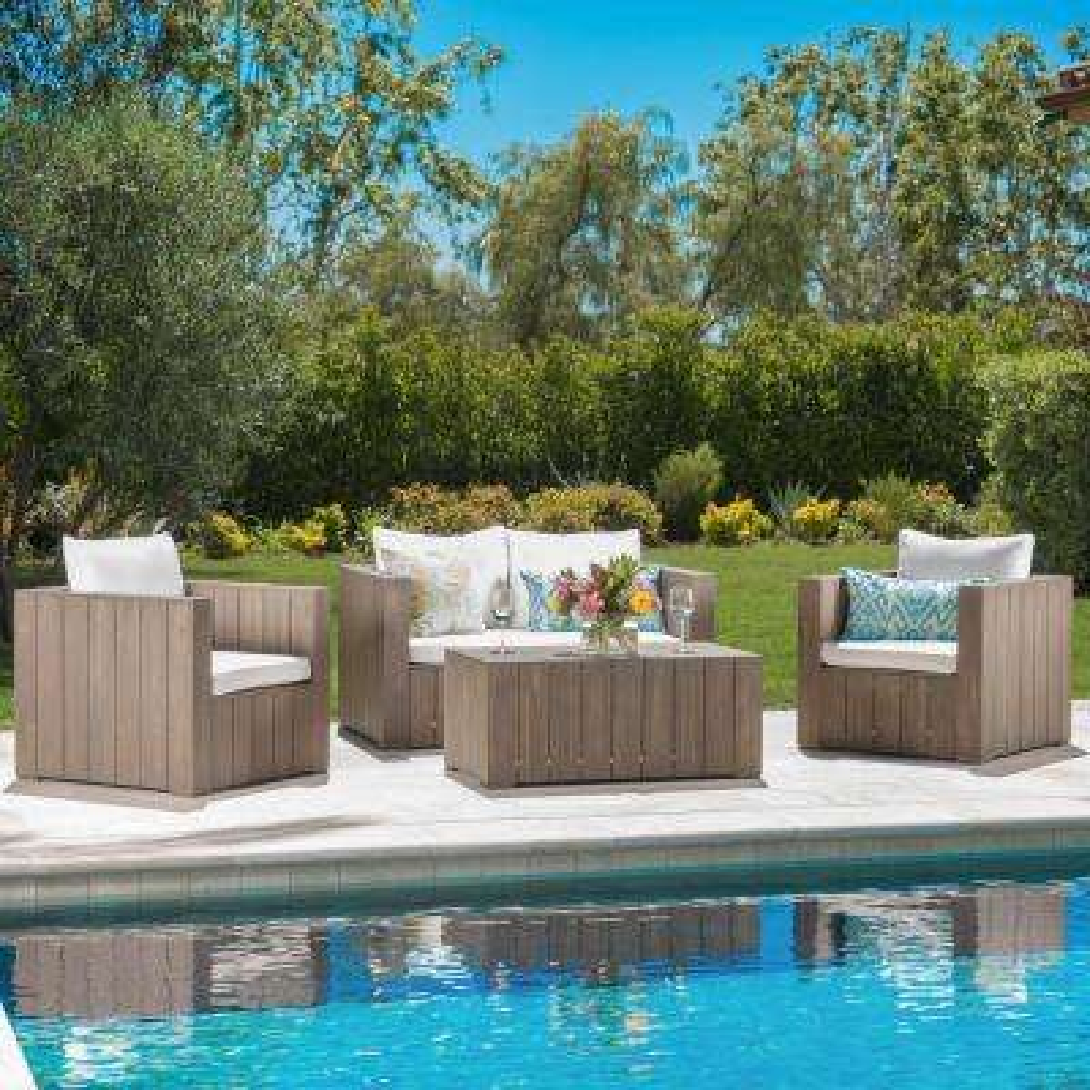 Vitus Grey 4-Piece Wood Patio Conversation Set with White Cushions