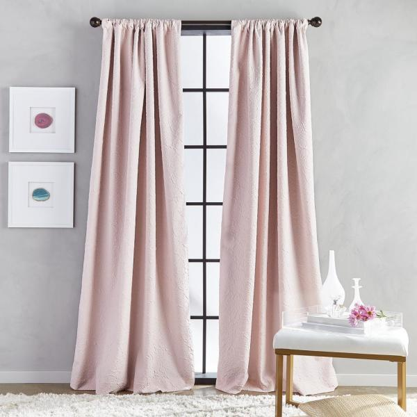 Bloomsbury Microsculpt Room Darkening 52 In W X 95 In L Rod Pocket Curtain Panel In Blush 1z83170abh The Home Depot
