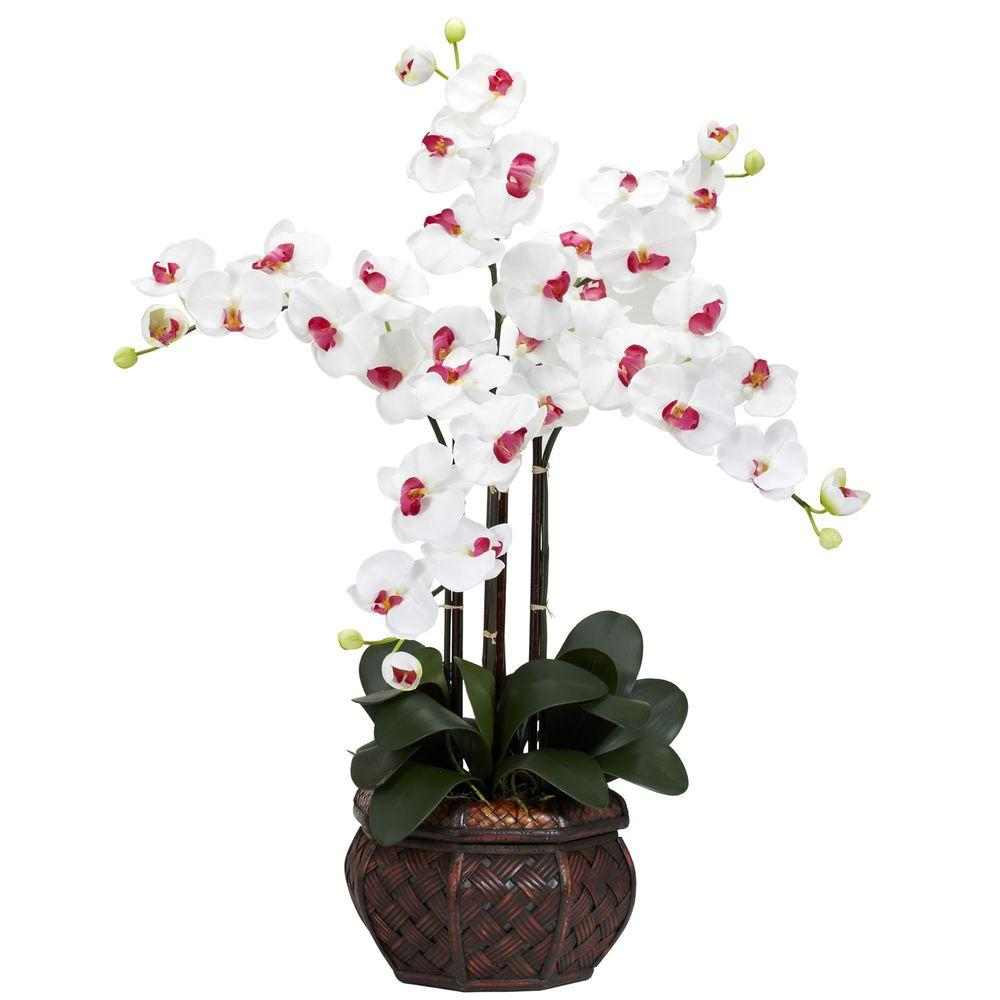 31 in h white phalaenopsis with decorative vase silk flower h white phalaenopsis with decorative vase silk flower arrangement mightylinksfo