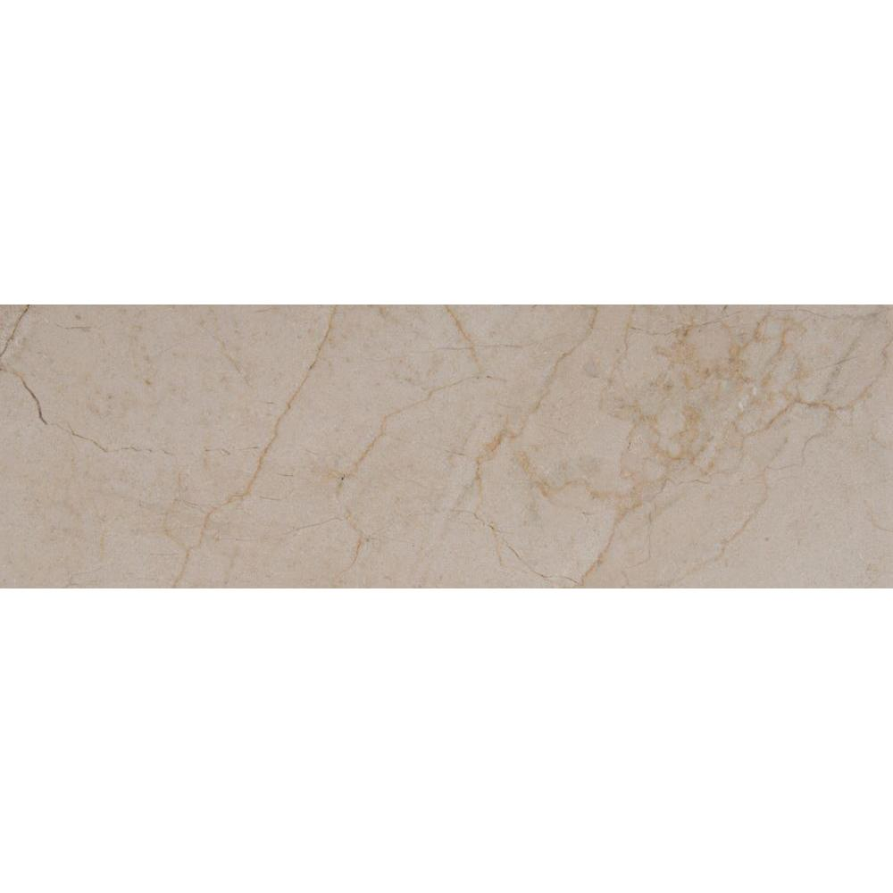 Crema Marfil 4 in. x 12 in. Polished Marble Floor and