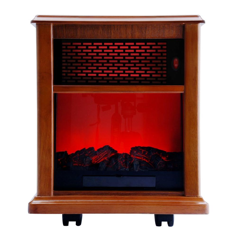 American Comfort Fireplace 1500-Watt Infrared Electric Portable Heater Solid wood Construction - Tuscan