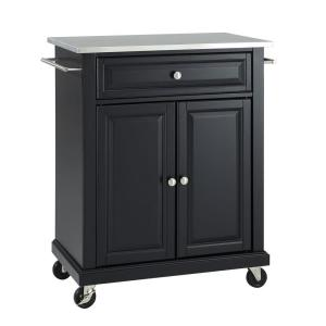 Rolling Black Kitchen Cart with Stainless Top
