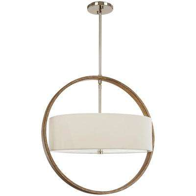 3-Light Polished Nickel and Corona Bronze Pendant with Fabric Shade