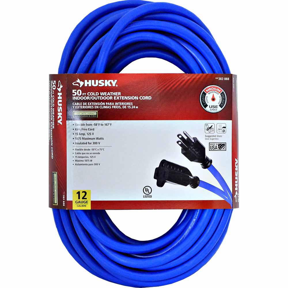 50 ft. 12/3 (-50°) Cold Weather Indoor/Outdoor Extension Cord, Blue