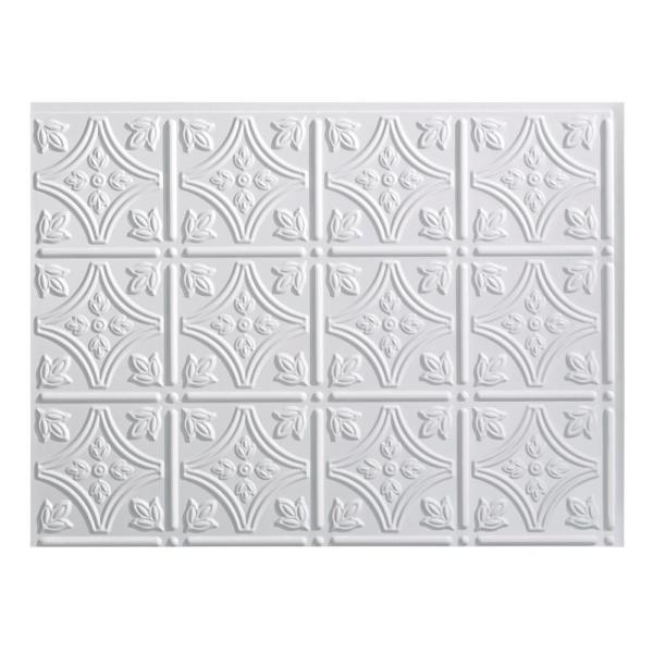 18.25 in. x 24.25 in. Gloss White Traditional Style # 1 PVC Decorative Backsplash Panel