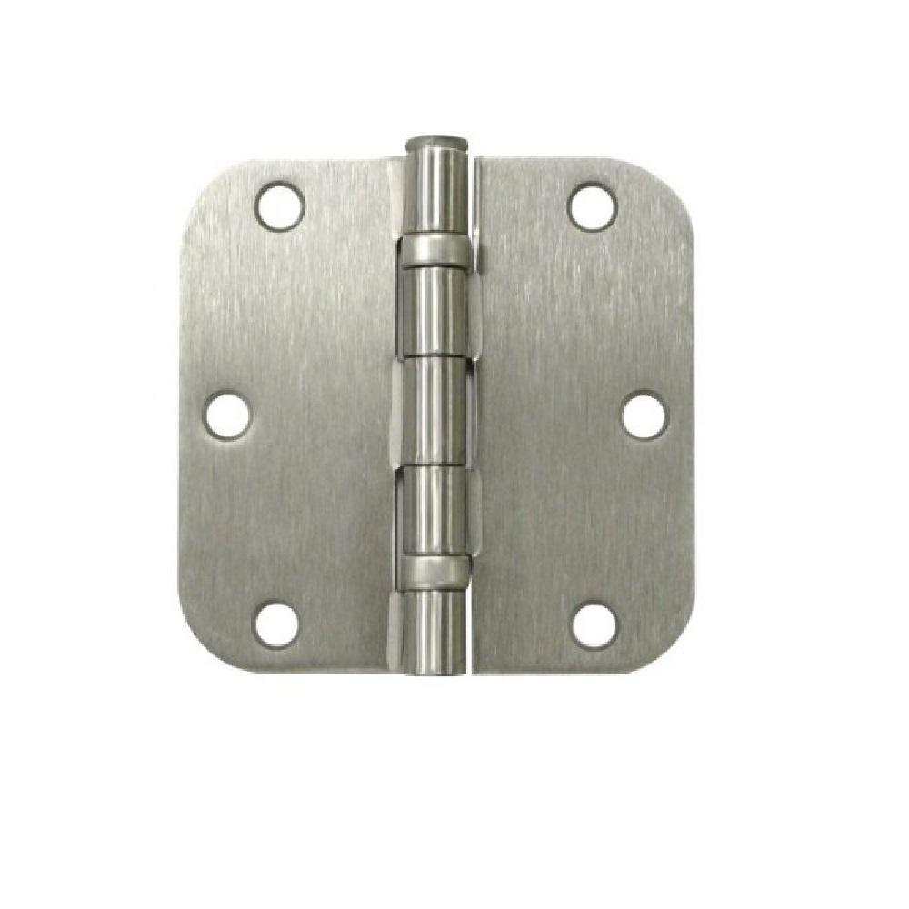 3-1/2 in. Satin Nickel 5/8 in. Radius Ball Bearing Door Hinge Value Pack (3-Pack)