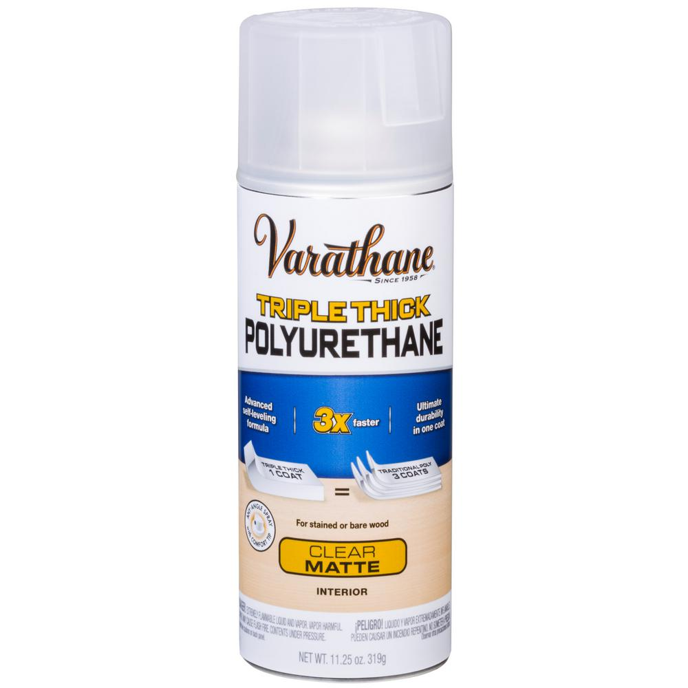 Varathane 11 Oz Clear Matte Triple Thick Polyurethane Spray 318285 The Home Depot