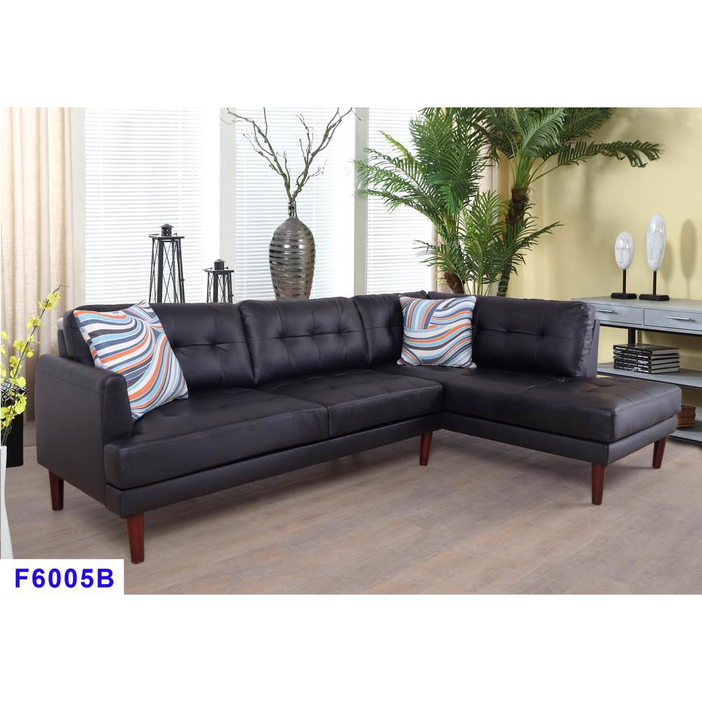 2-Piece Black Faux Leather Right Sectional Sofa Set