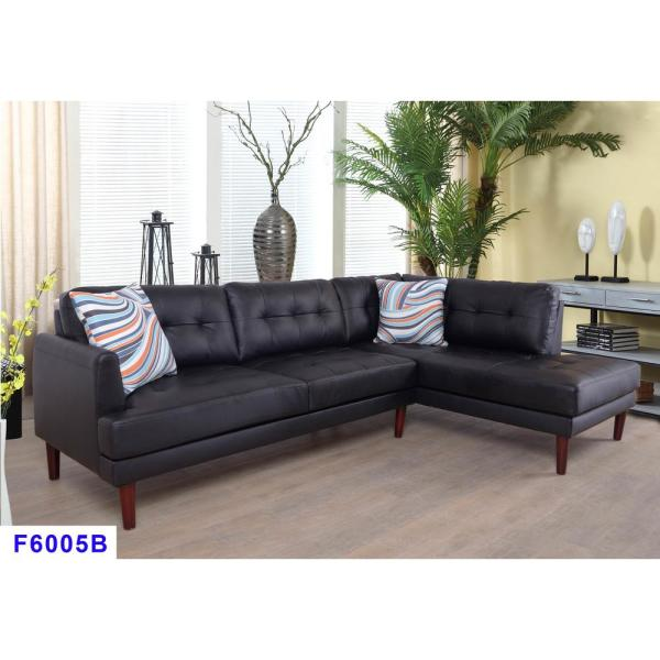 2-Piece Black Faux Leather Right Sectional Sofa Set SH6005B