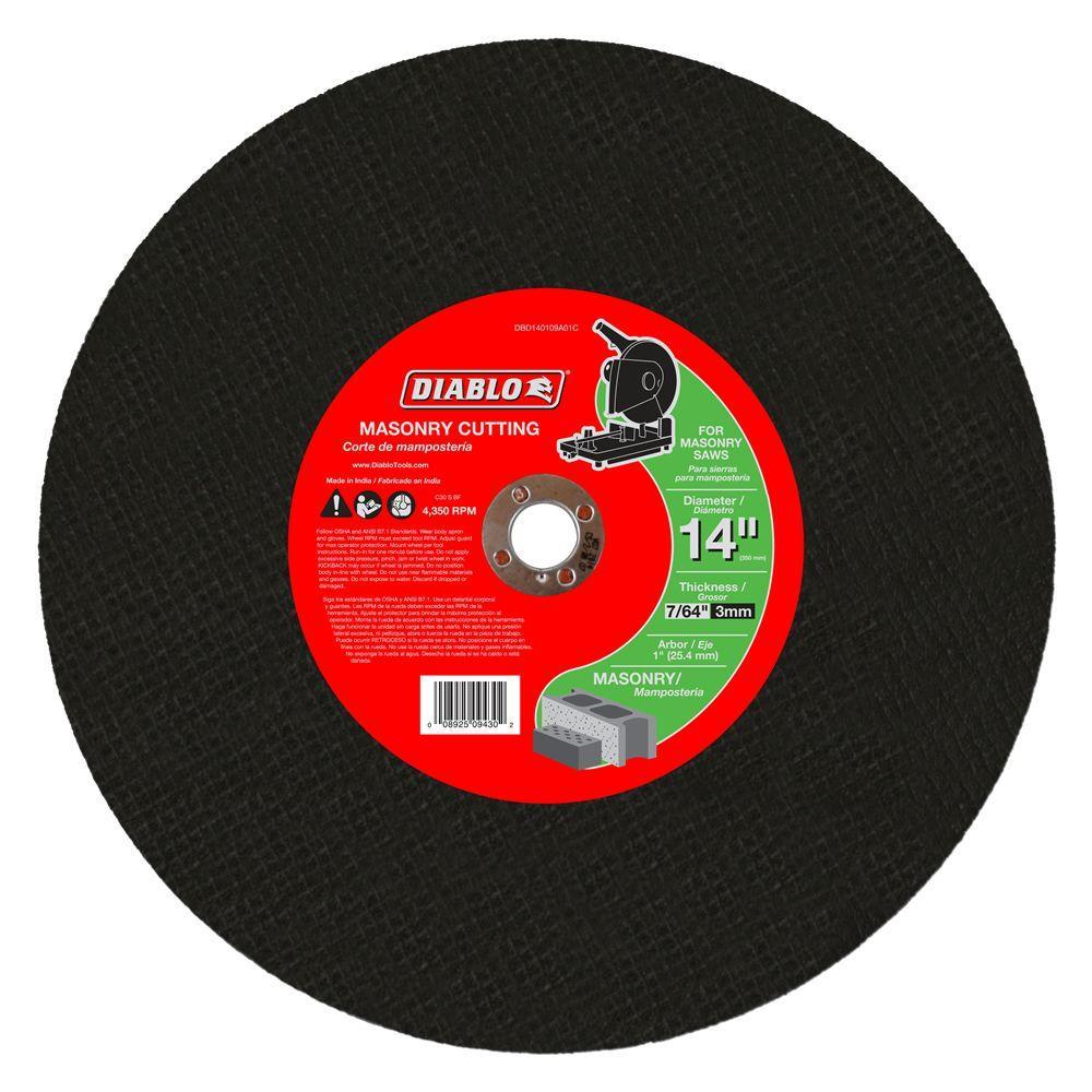 Click here to buy Diablo 14 inch x 7/64 inch x 1 inch Masonry Chop Saw Disc (5-Pack) by Diablo.