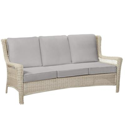 Park Meadows Off-White Wicker Outdoor Patio Sofa with CushionGuard Stone Gray Cushions